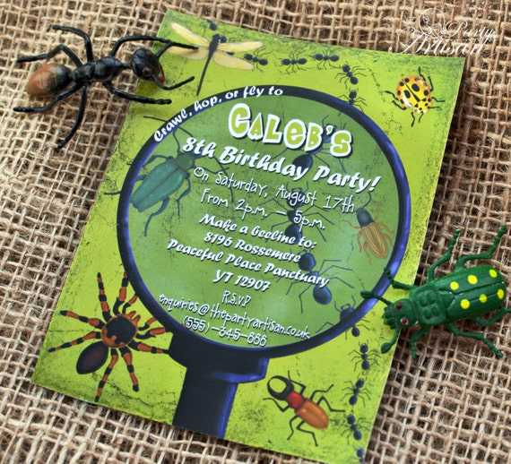 Boy Bug Party Invitations Printable – Insect Birthday Invitations