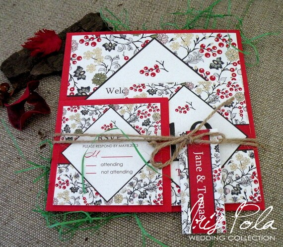 SAMPLE, Wedding Invitation Set, Christmas Wedding