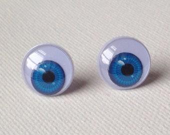 Blue Eyeball Stud Earrings Creepy Punk Rockabilly Goth Fun Different Quirky Cute
