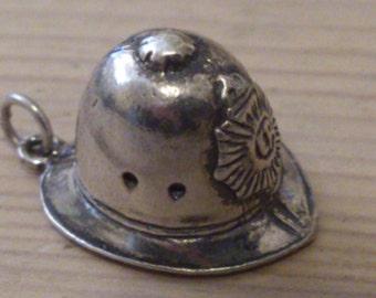 Large vintage policemans helmet sterling silver charm