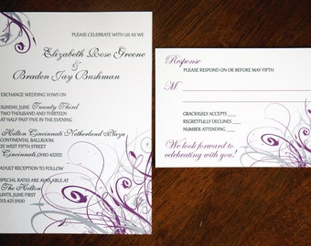 gray white purple whimsical swirl custom invitation