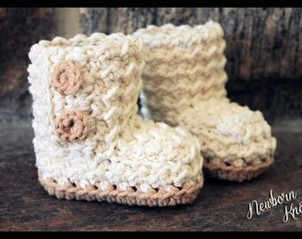 Crochet Pattern for Boys or Girls Textured Button up Booties. Pattern number 030. Instant Download