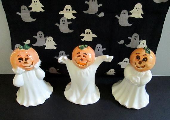 Vintage Halloween Ceramic Luminarias Three Ghosts with Pumpkin Heads