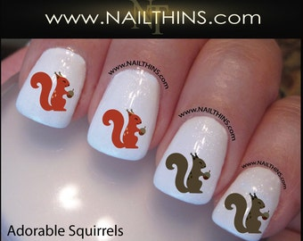 Squirrel Nail Decal Squirrels in Red and Grey Nail Designs