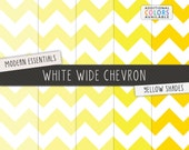 Yellow Chevron Digital Scrapbook Papers / White Wide Chevron Pattern / Printable Digital Paper / INSTANT DOWNLOAD / CU /  Yellow, Lemon