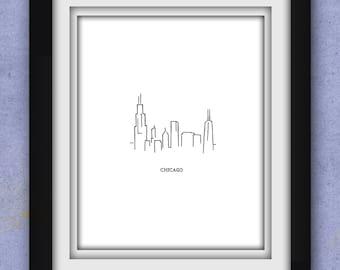 Chicago Skyline Minimalist Print