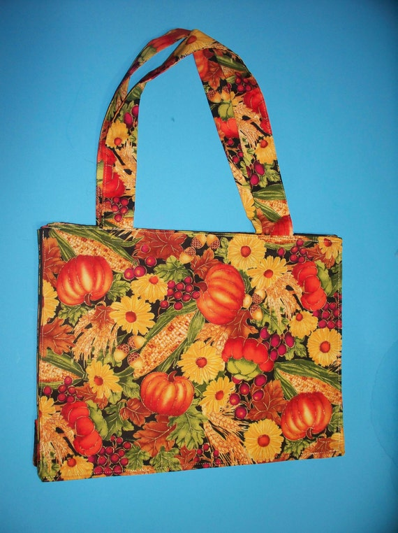 Festive Fall  Pattern Purse/ Tote, Pumpkins, Corn, Flowers