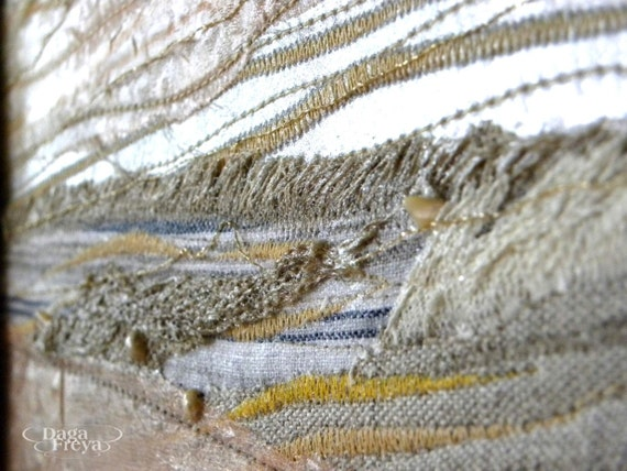 Golden Beach - Textile Art - beach wall decor, contemporary art, wall hanging, beach rustic romantic interior, shell, crust, pearls