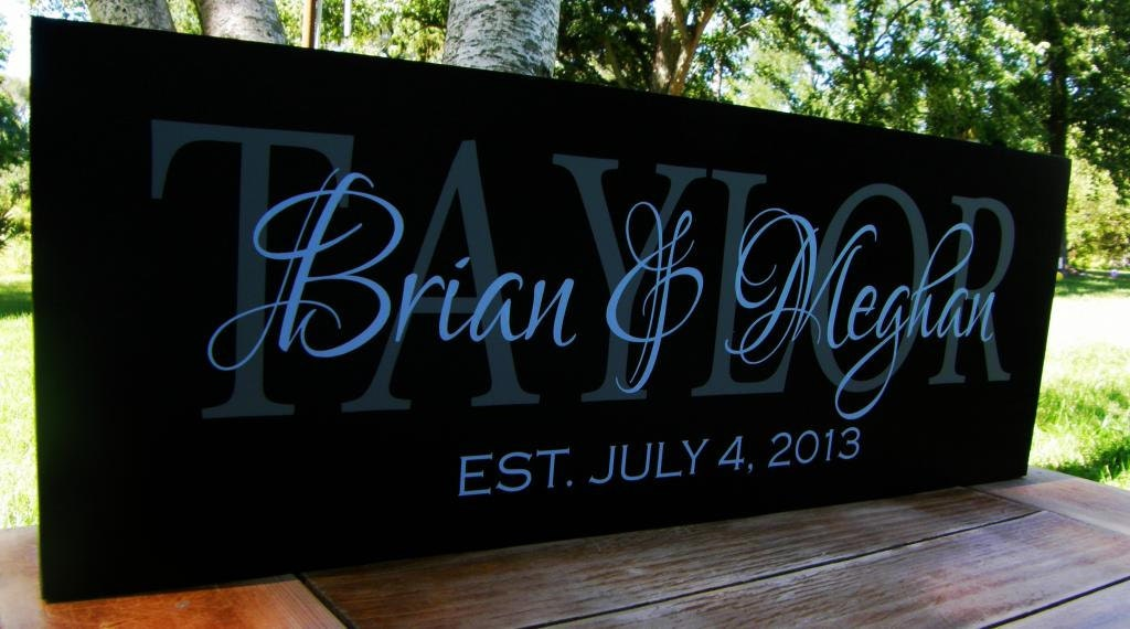 Wedding Gift Name Sign : Last Name Signs Personalized Wedding Gift Mr. and Mrs.