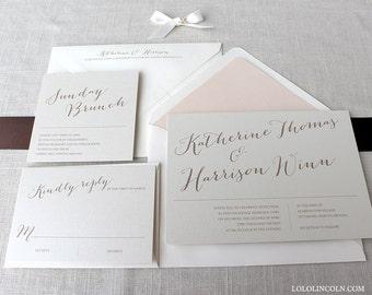 Classic Wedding Invitations, Formal Wedding Invitations, Traditional Wedding Invitations, Katherine Calligraphy Style Wedding Invitation