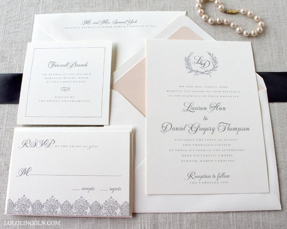 Laurel Wreath Classic Style Wedding Invitation DEPOSIT to get started