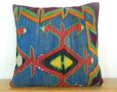 Handwoven 20x20 Wool Kilim pillow Cover Blue Pillow Red Pillow Red blue pillow blue throw pillow red throw pillow red blue throw pillow - DECOLIC