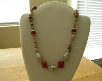 Beautiful Tibetan Silver and Cinnabar Necklace