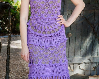 Violet Crochet Dress. Made for order.