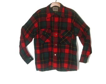 Vintage Wool Plaid Board Shirt Camping Lumberjack Men's Large