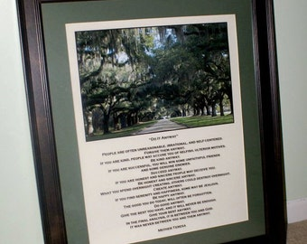Mother Teresa Poem with Southern Oaks