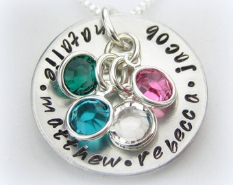 Mom handstamped personalized jewelry necklace mothers day with 4 Swarovski birthstone charms