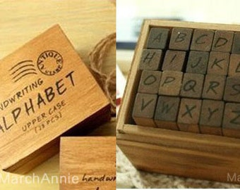 28pcs Uppercase Stamp - Alphabet Stamps -Wooden Rubber  - Handwriting Style - Capital and symbol 28pcs/box