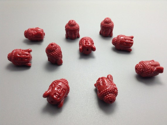 10 Pcs Red Colors Happy Buddha Beads Spiritual Jewelry