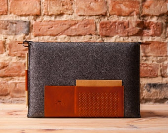 "Retro wool felt and leather case for MacBook 12""  OSTFOLD"