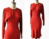 RESERVED for Irene Guerrero... 1930's Raspberry Red Crepe Rayon Dress with Open Sleeves/ Bias Cut