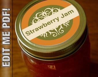 "12 Mason Jar OLD FASHIONED 2"" round canning labels editable"