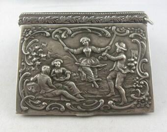 Original ART NOUVEAU: Magic box with a playful motif of silver (Ag 800). Vintage