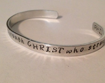 I can do all things through CHRIST who strengthens me. Phil 4:13-handstamped bible verse bracelet
