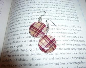 Plaid Circle Dangle Earrings