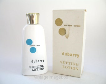Dubarry Setting Lotion, bottle with box, vintage vanity, hair accessory display prop, 1960s 1970s fashion