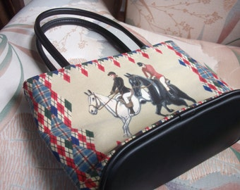 Vintage Black and White Horse  Equestrian Style Handbag