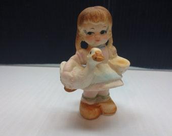 Vintage Miniature Bone China Little Girl With Duck Figurines Bridge Japan