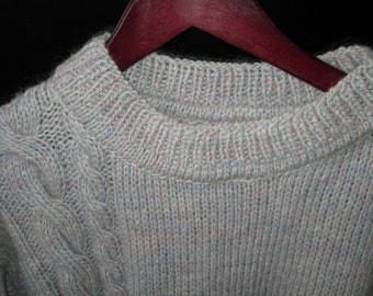 Gray Knit Sweater, man wool jacket, Cable Man Clothing, man knitted jemper