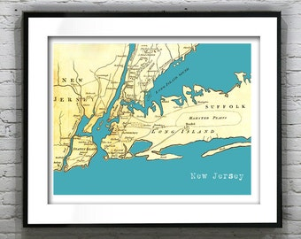 New Jersey Long Island Poster New York Art Print Old Vintage Map