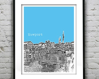 1 Day Only Sale 10% Off - Newport Rhode Island Skyline Poster Art Print Item T1267