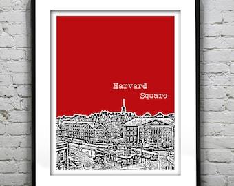 Harvard Square Cambridge Poster Art Print Boston Massachusetts Version 32