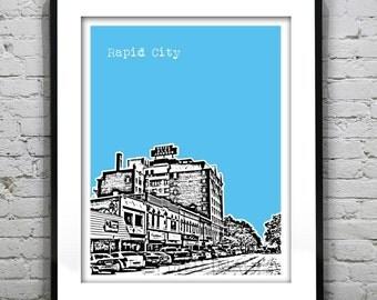 Rapid City Skyline Poster Art Print South Dakota SD Version 1