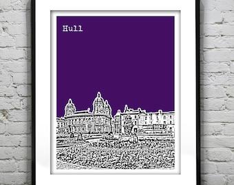 Hull Poster Art Skyline Print Kingston Upon Hull The Queen's Gardens United Kingdom England