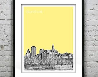 Hartford Connecticut Skyline Poster Art Print CT Version 1