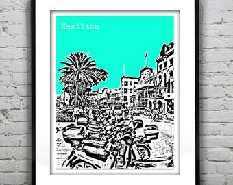 1 Day Only Sale 10% Off - Hamilton Bermuda Skyline Poster Art