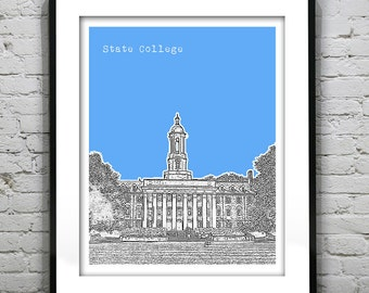 State College Skyline Poster Print Art Pennsylvania PA Version 1