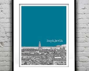 Reykjavik Iceland City Skyline Poster Art Print Version 1