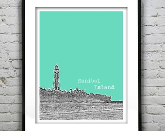 Sanibel Island Florida Skyline Poster Art Print