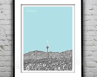 Tehran Poster Art Print City Skyline Tehran Province Iran Milad tower Version 2