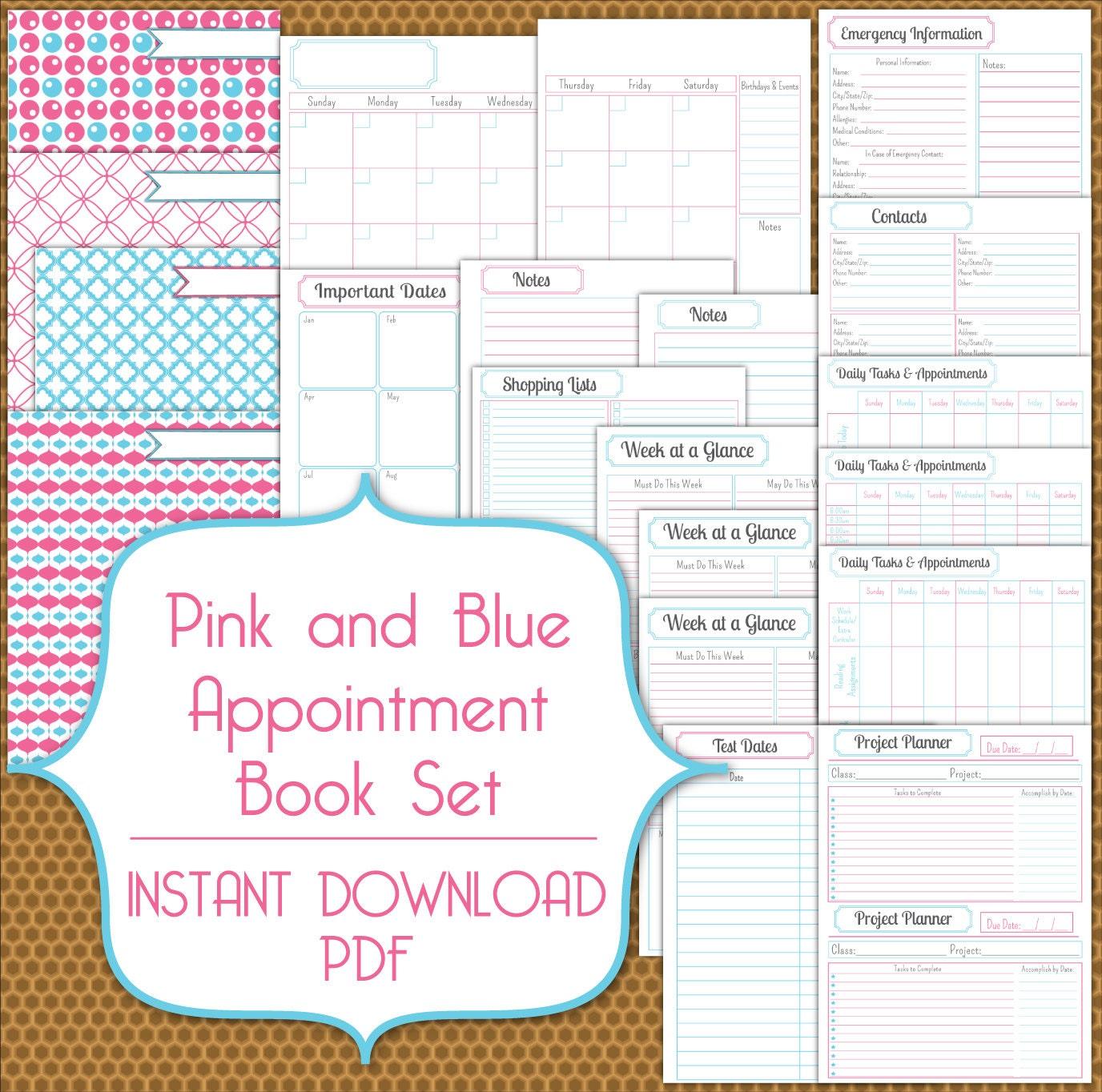 appointment book planner set pdf instant download printable in. Black Bedroom Furniture Sets. Home Design Ideas