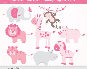 Pink Jungle Animals - African Safari Clip Art / Digital Clipart- Baby girl shower Instant Download - 8 animals - EPS and PNG files included