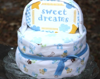 Sweet Dreams Diaper Cake - Boy Diaper Cake - Dog Baby Shower - Dog Print - Dog Baby Blanket