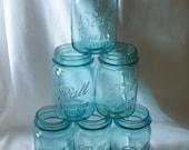 Set of 6 1920's Vintage Ball Perfect Aqua Blue Mason Fruit Jars