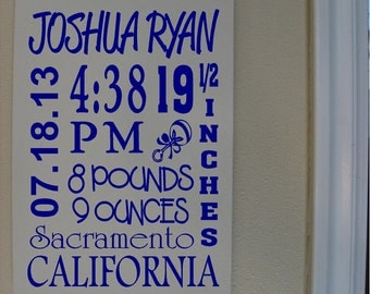 Custom Personalized Wooden sign-Baby Boy Subway Art