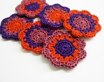 Handmade cotton flower motifs appliques in autumn colors purple, orange, red  2 inches set of 6